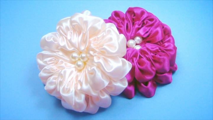 Цветы из бантов мастер класс