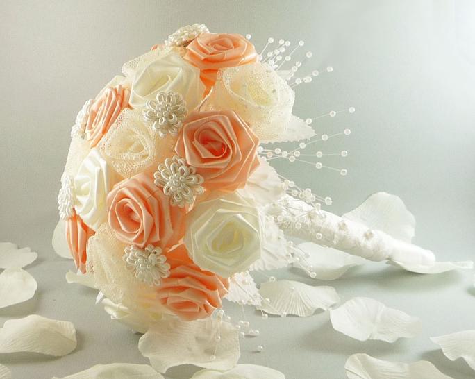мк свадебный букет из ленты своими руками