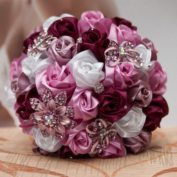 Как сделать цветы из атласных лент фото 586