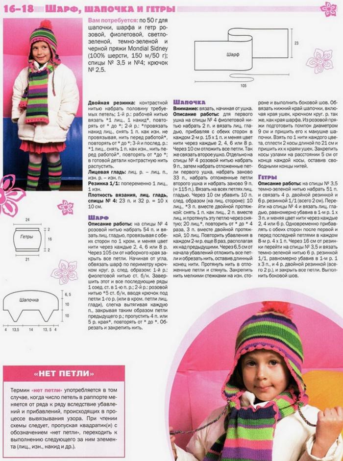 Вязание крючком шапок и шарфов для девочек