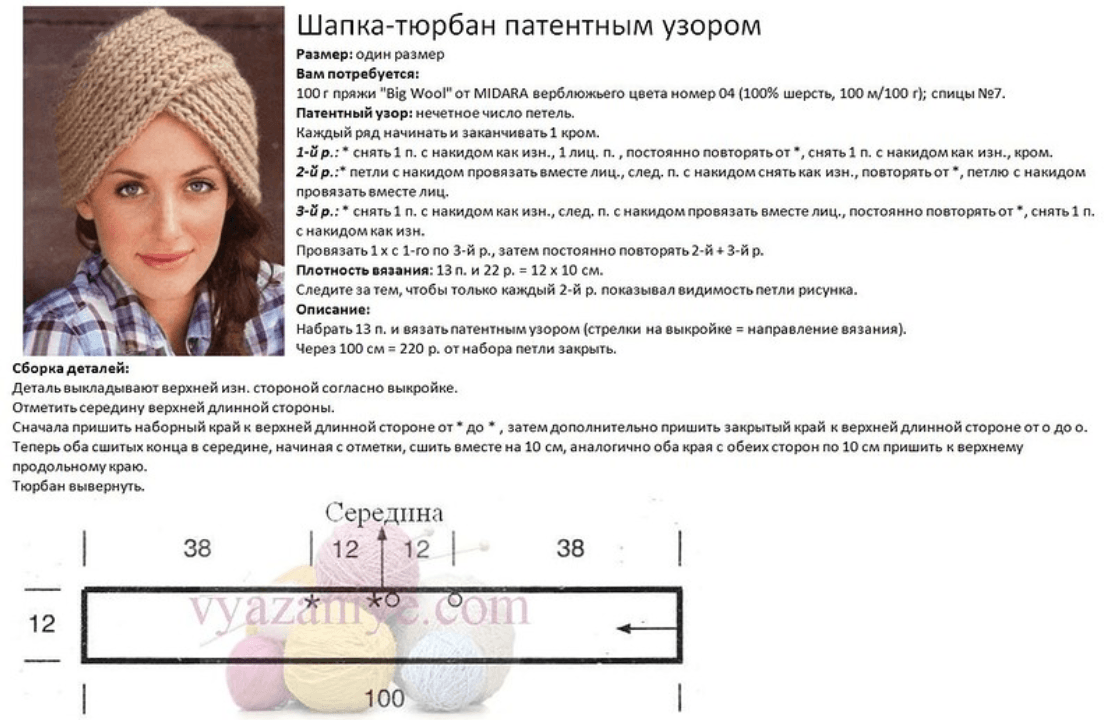 Вязание спицами чалма для женщин 977
