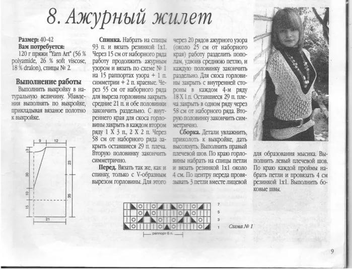 Вязание ажурных жилетов спицами для женщин