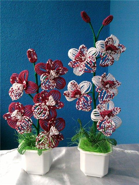 Бисерные орхидеи в горшочках