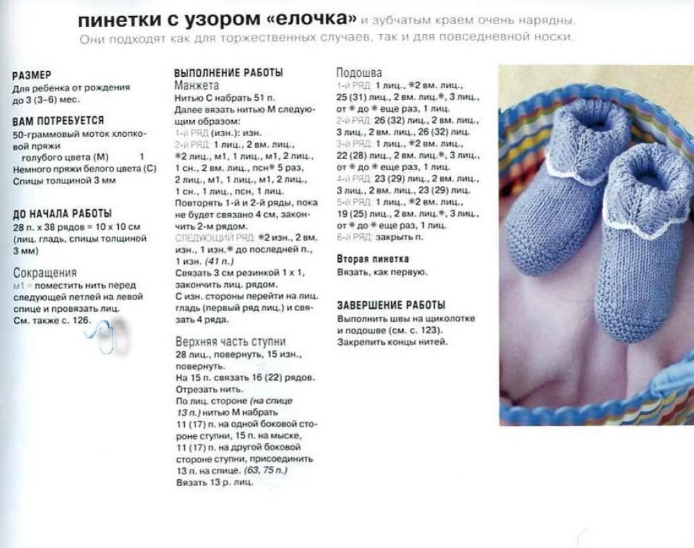Пинетки спицами со схемой для новорожденной девочки