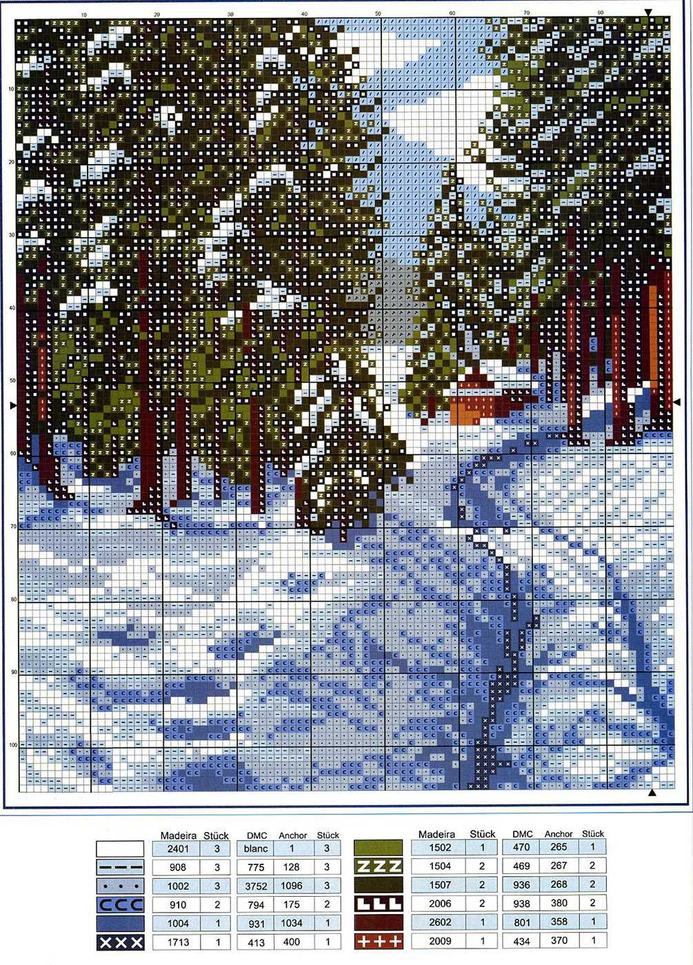 Пейзаж зимы вышивка крестом