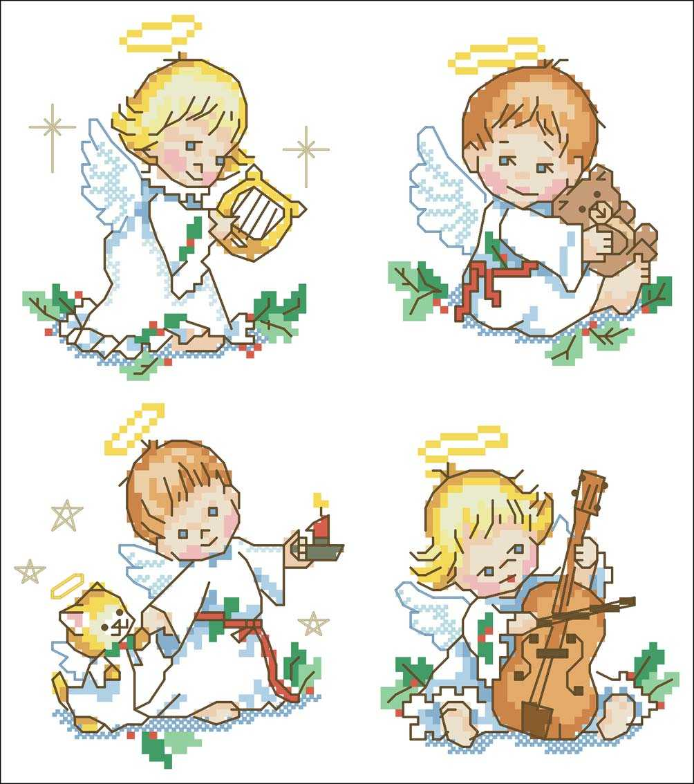 Схема вышивки крестиком ангел маленький