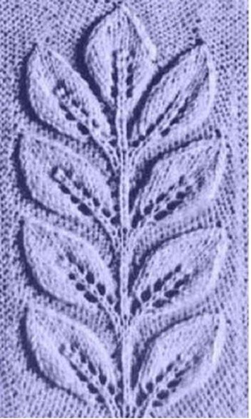 Вязание спицы веточка с листьями 926