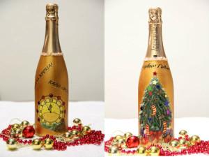 Бутылки шампанского с новогодними сюжетами