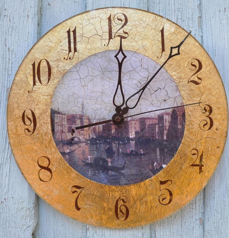 Часы настенные своими руками декупаж