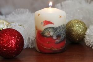 Новогодняя свеча с декупажем
