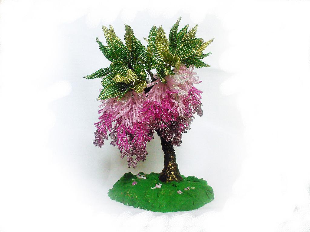 схема плетения красивых цветов и деревьев из бисера