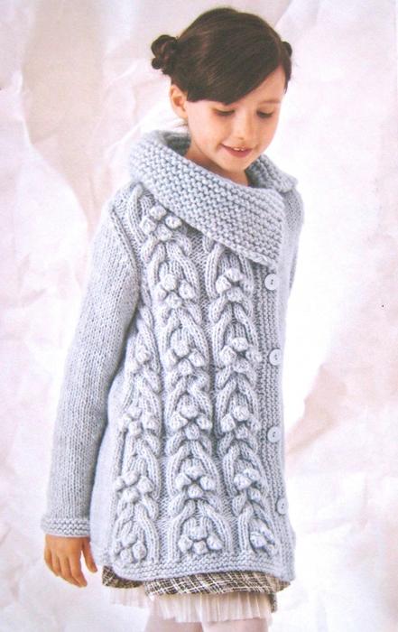 вязание спицами кардиганы для девочек 3 5 лет с описанием и схемами