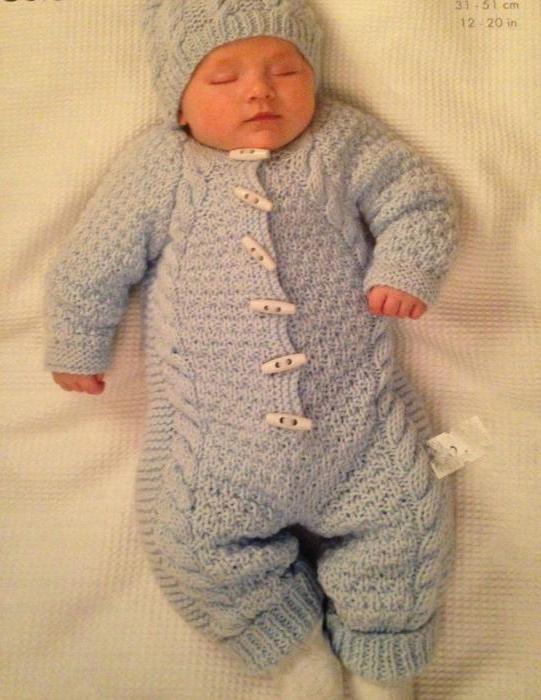 Вяжем для новорожденного 0-3 месяцев: костюмы спицами, идеи 21