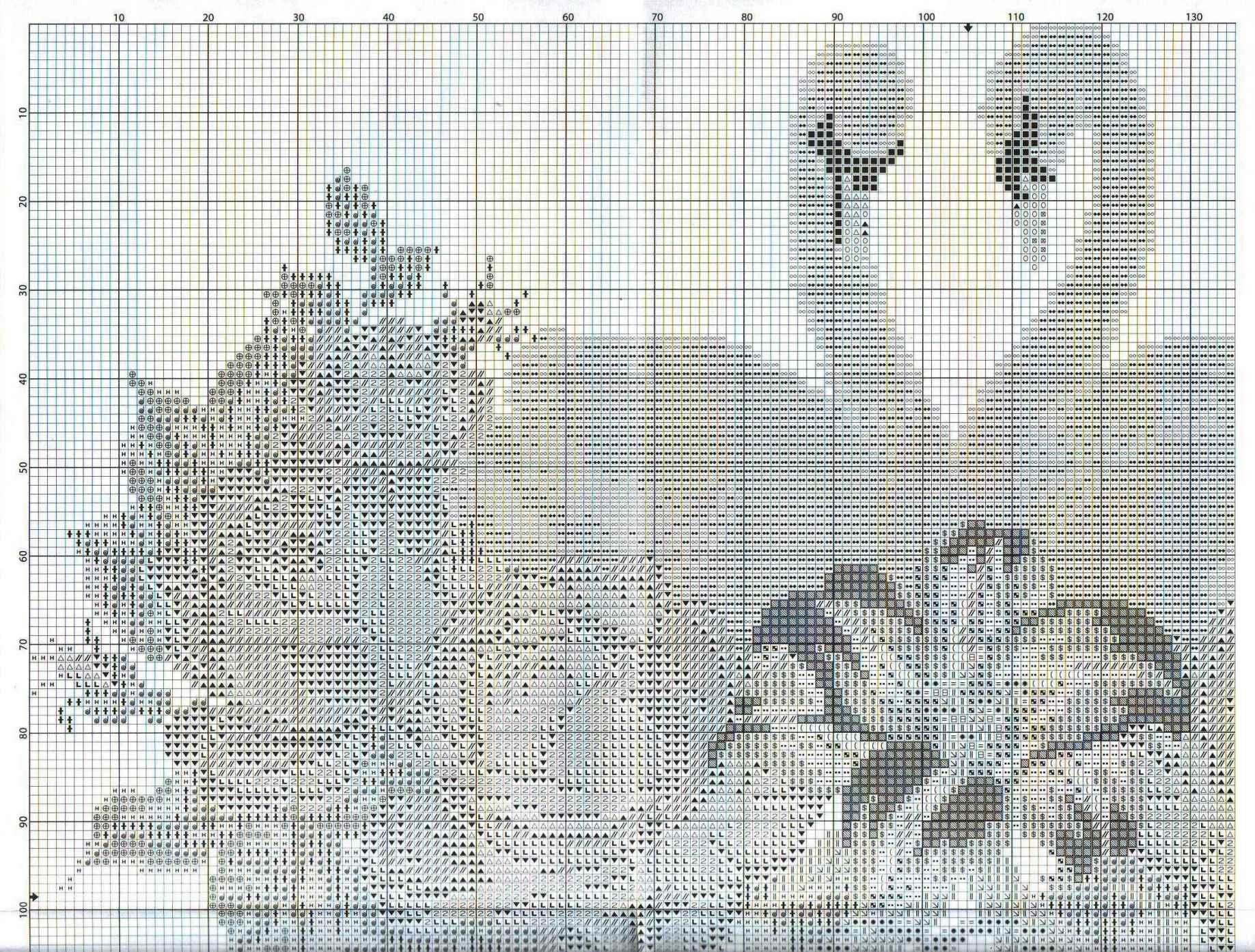 Схемы вышивки лебедей на рушниках