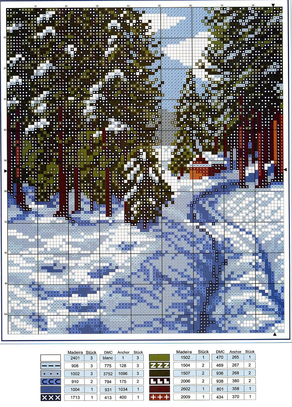 Вышивка крестом схема картина о природе