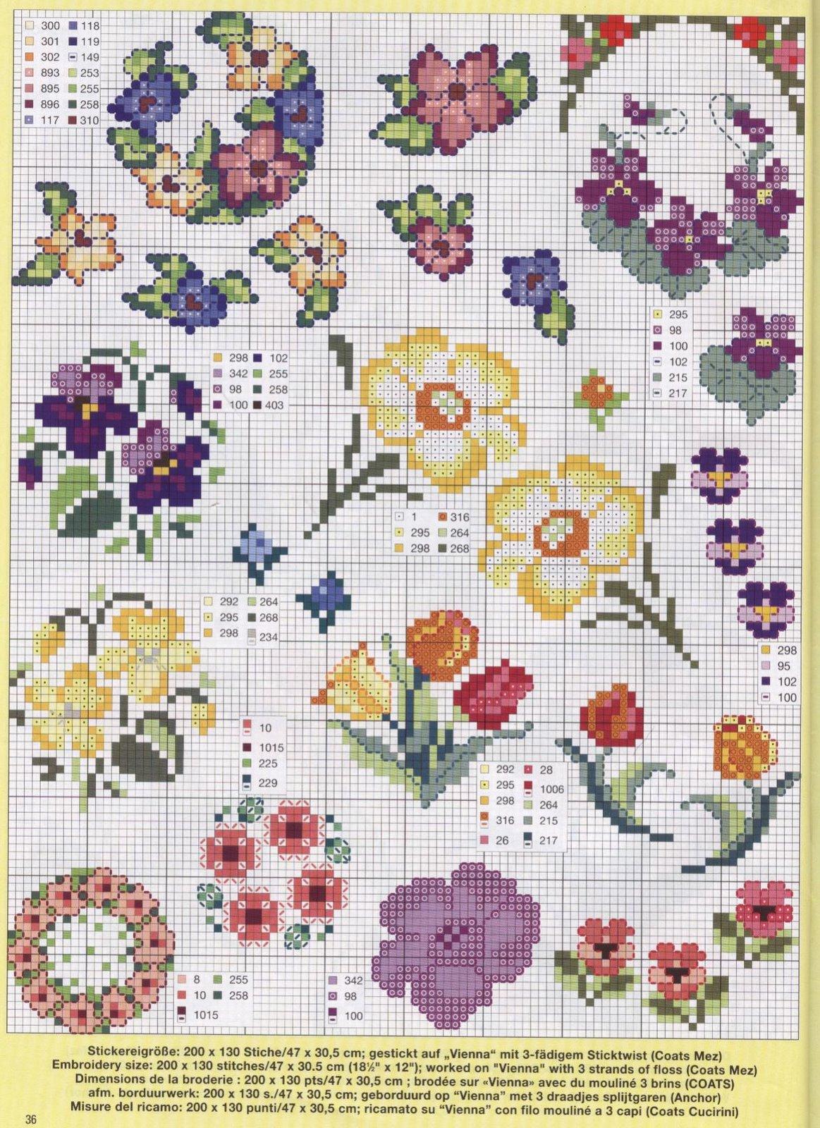 Мелкие цветы схема вышивки крестом