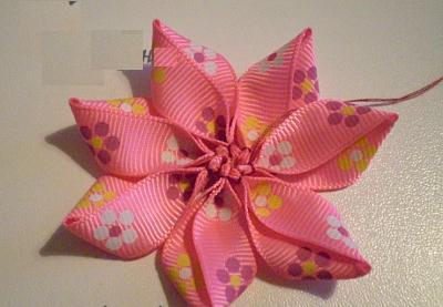 Цветы из ленточек своими руками на резинку