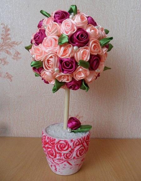 Тюльпаны из ленты своими руками 592